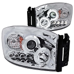 Anzo Chrome Projector Halo Headlights - 6.7 Cummins 2006-2009