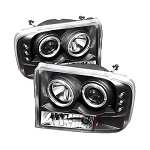 Spyder Projector LED Halo Black Headlights - 7.3|6.0 Powerstroke 1999-2004
