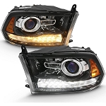 Anzo Black Plank Style Switchback Projector Headlights W|Halo