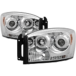 Spyder Chrome Headlights With LED Halo - Ram 2006-2009