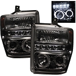 Spyder Smoked Projector Headlights W|LED Halo - Super Duty 2008-2010