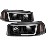 Spyder Black Version 2 Projector Headlights W/ Light Bar DRL