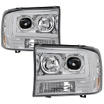 Spyder Chrome Projector Headlights With Light Bar DRL