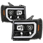 Spyder Black Version 2 Projector Headlights With Light Bar DRL